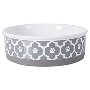 """Bone Dry DII Lattice Ceramic Pet Bowl for Food & Water with Non-Skid Silicone Rim for Dogs and Cats (Large - 7.5"""" Dia x 4"""" H) Gray"""