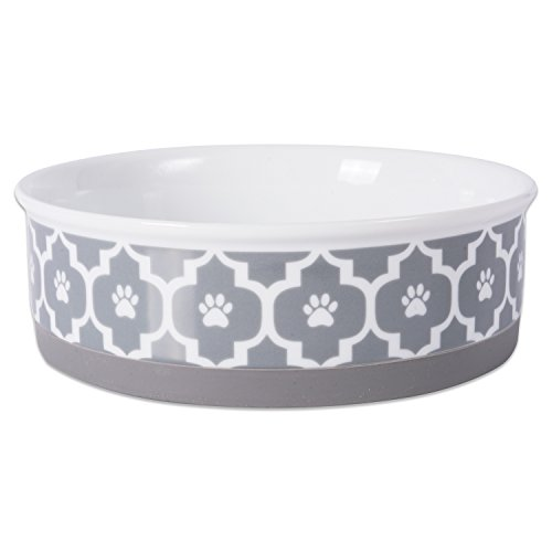 Bone Dry DII Lattice Ceramic Pet Bowl for Food & Water with Non-Skid Silicone Rim for Dogs and Cats (Large - 7.5