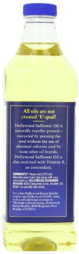 Hollywood Safflower Oil, 32 Ounce Bottle 6 Pure safflower oil expeller pressed without chemicals Enriched with antioxidant vitamin E Low saturated fat, cholesterol and sodium
