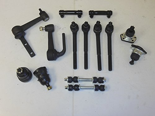 (14 Pcs Aftermarket Front Kit 2 Upper 2 Lower Ball Joint 2 Inner 2 Outer Tie Rod 2 Sway Bar Links 2 Idler Arms 2 Adj. Sleeve RWD Vehicles)