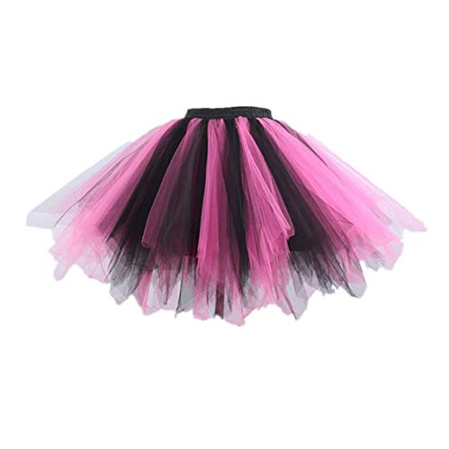 (MizHome Womens Plus Size Black Pink Tutu Skirt Layered Tulle Skirt Adult Halloween)