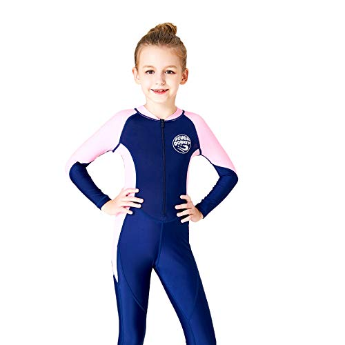 (Scubadonkey 0.5 mm Lycra Full Body Quick Dry Wetsuit for Girls | UPF 50+ UV Protection | for Scuba Diving Surfing Fishing Kayaking Swimming (Navy/Pink, 12))