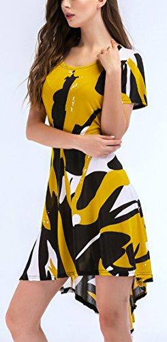 Cóctel Freestyle Vestido Fiesta Casual Corta Delgado Manga Mujer Irregular Partido Corto De Gala Cuello Redondo Amarillo Vestidos Impresión Moda Playa Verano H0rTwH