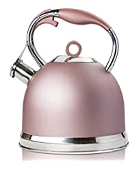 Tea Kettle Best 3 Quart induction Modern Stainless Steel Surgical Whistling Teapot - Pot For Stove Top (Rose-gold)