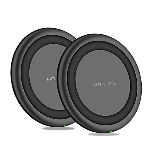 MQOUNY Wireless Charger,2 Pack 10W Ultra Slim Fast Qi Wireless Charging Compatible with iPhone Xs MAX/XR/XS/X/8Plus,Galaxy Note10/Note 10 Plus/S10/S10 Plus/S10E/S9 All QI Phones(No AC Adapter) (Black)