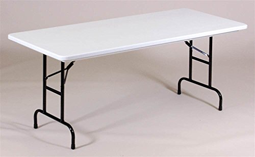 - Correll RA3060-24 R Series, Adjustable Height Blow Molded Plastic Commercial Duty Folding Table, Rectangular, 30