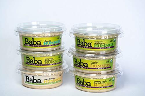 - Baba Small Batch Organic Hummus (8 oz, 6 Pack) - Zero Preservatives, USDA Organic, Gluten Free, Vegan, Non-GMO, Cholesterol Free (3 Classic + Best Sellers)
