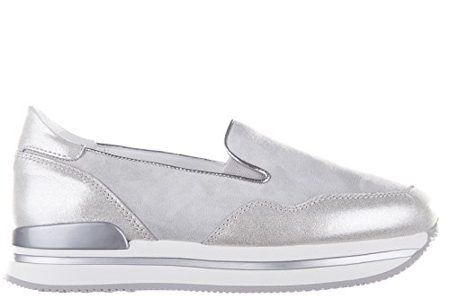 Hogan Damen Wildleder Slip On Slipper Sneakers h222 Grau