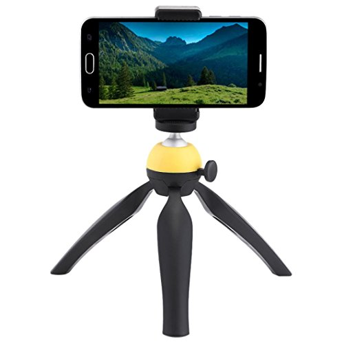 Phone Tripod,Mini Small Portable and Adjustable Tripod Stand Holder Universal Tabletop for iPhone, Android Phone,Camera with Universal Clip and Remote (Yellow)