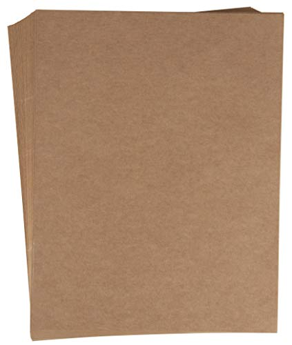 Kraft Paper Labels - Full Sheet Kraft Brown Labels - 48-Sheet 8.5 x 11 Letter Size Stickers Paper for Package Shipping and Return Label, Decoration, Craft Project