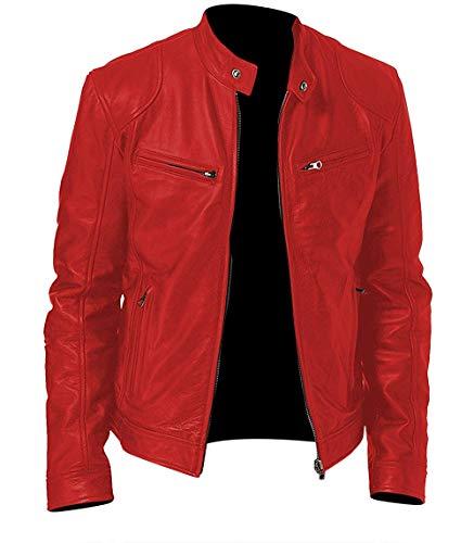 (Men's Stylish Lambskin Genuine Leather Jacket, O. Cafe Racer Rider Red, XX-Large)