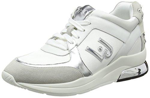 LIU 2018 B18021T2039 50 zeppa logo running Snow bianco colore Sneakers primavera JO camoscio nuova miranda in 10602 White nylon con collezione estate nArAfH