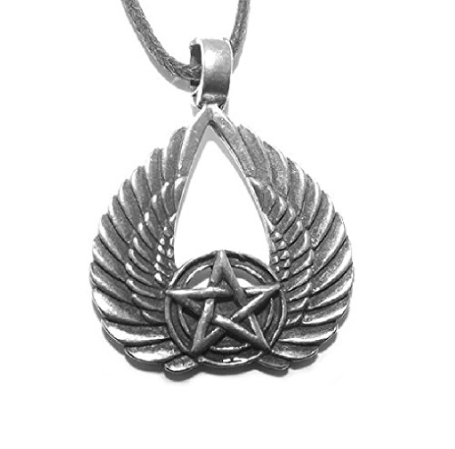 Egyptian Isis Wings / Winged Pentacle Pentagram Wiccan Pewter Pendant