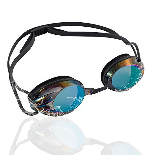 Zodaca Swimming Goggles for Adults, Anti-Fog UV Protection Triathlon Mirrored Swim Goggles with Crystal Clear Lens, Protective Case, Memory Silicone, No Leaking for Men Women - Black/Rainbow Gradient