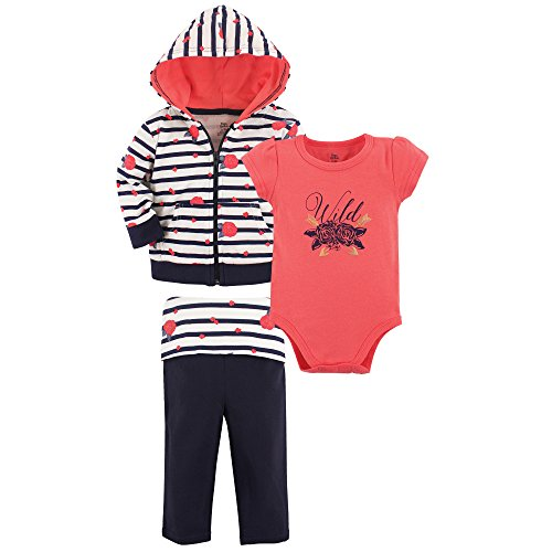 Yoga Sprout Baby 3 Piece Jacket, Top and Pant Set, Wild Rose, 12-18 Months (18M)