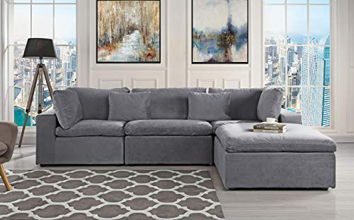 Classic Large Velvet Sectional Sofa, L Shape Couch with Wide Chaise (Dark ()