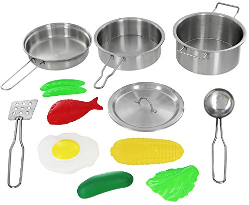 - Click N' Play 12 Piece Mini Stainless Steel Pots and Pans Cookware Pretend Playset with Play Food