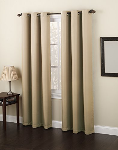 No. 918 Montego Casual Textured Grommet Curtain Panel, 48″ x 63″, Taupe Brown
