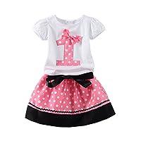 Mud Kingdom Polka Dot Toddler Girl's Birthday Clothing Set