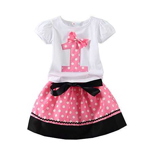 Mud Kingdom Baby Girls Birthday Outfits I Am 1 Year Clothes Skirt Sets Pink 12M -