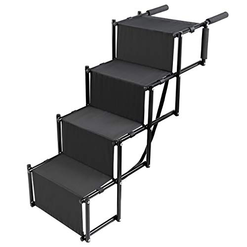 Dog Car Step Stairs Foldable - SUKI&SAMI Metal Frame Folding Dog Ramp for Car,Lightweight Portable Large Dog Ladder,for Dogs and Cats,SUVs and Trucks,Couch and Bed,Protect Pets Joint and Knee
