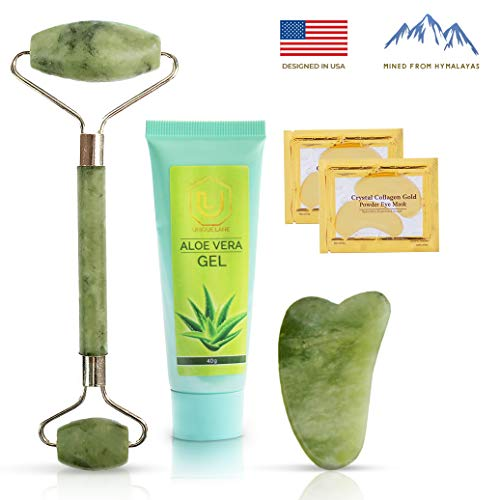 Jade Roller & Aloe Vera Gel Massage Tool Set | Anti Aging Massage Kit | Healing Slimming & Wrinkle Treatment For Face Neck & Body | Jade Roller For Face Includes Gua Sha & 24k Gold Eye Patches