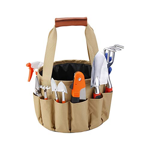 10PCS Mixed General Garden Tool Kit, Waterproof Tool Bucket, Garden Tool Bag, Portable DIY Tool Set, with Waterproof Bag, Gardening Gloves/Digging Claw Tools/Planting ()