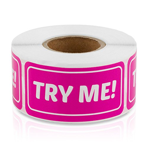 Try Me 1  X 2  Labels Stickers  Dark Pink   300 Labels Per Roll   1 Rolls