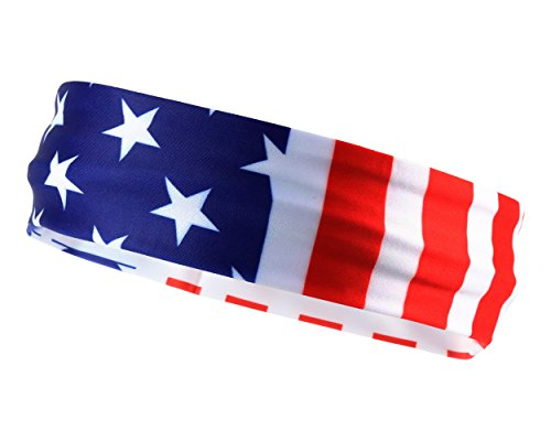 USA American Flag Sports Headband for Men & Women: Sweat-Wicking Sweatband 4th of July Special (Usa Rocks American Flag)