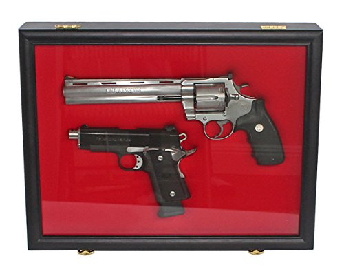 Pistol Airsoft Gun/Handgun Display case Shadow Box, Lockable (Red Felt-Black Finish)