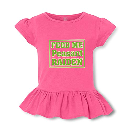 Feed Me Peasant Raiden Short Sleeve Toddler Cotton Girly T-Shirt Tee - Hot Pink, X Small