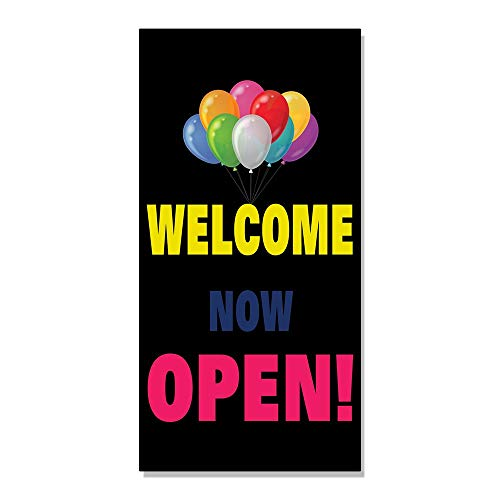 Welcome Now Open Baloon New Business Decal Sticker Retail Store Sign - 9.5 X 24 Inches for $<!--$13.99-->