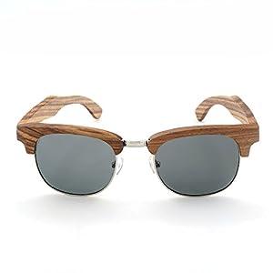 Ablibi Wood Semi Rimless Polarized Sunglasses Women Men Retro Brand Clubmaster Sun Glasses in Wood Box
