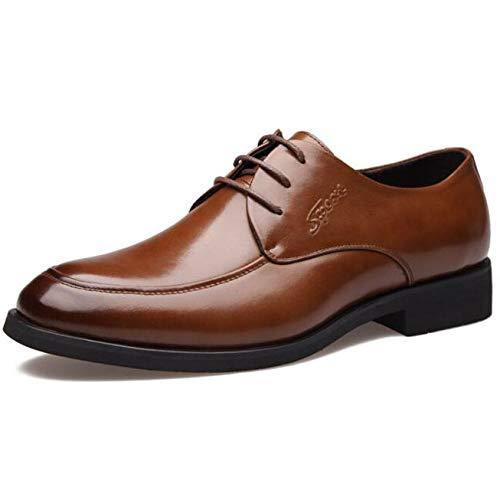 YongBe Herren Lederschuhe Lace-ups Business-Kleid Schuhe Casual Hochzeit Spitz Smart Breathable Schuhe Brown