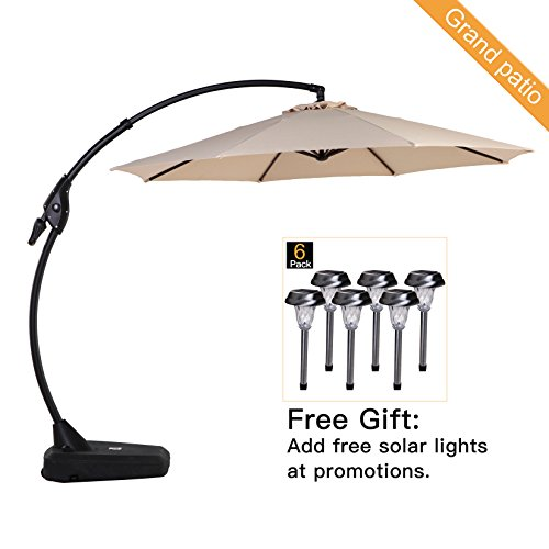 Grand patio Deluxe 10 FT Curvy Aluminum Offset Patio Umbrella with Handle and Crank, Banana Style Patio Cantilever Umbrella, 8 Ribs Large Patio Umbrella with Base, Beige Parasol Stand