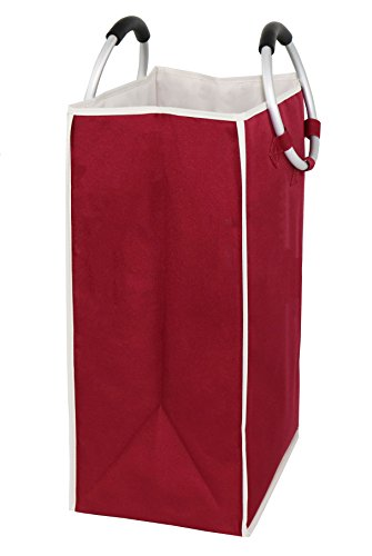 Essentials by Yoshi Foldable Laundry Bag with Alloy Handles, Heavy Duty, Easy to Carry, for Home, College Dorm or Travel.(Red) by Essentials by Yoshi (Image #2)