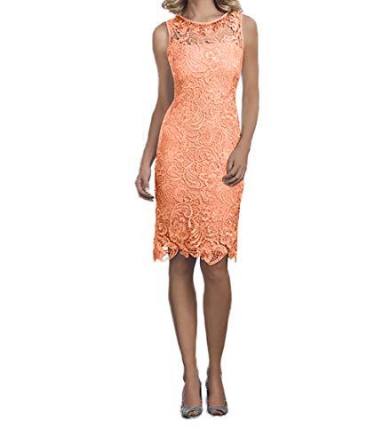 Abendkleider Partykleider Damen Orange Charmant Knielang Rosa Spitze Festlichkleider Kurzes Promkleider IxtIHP