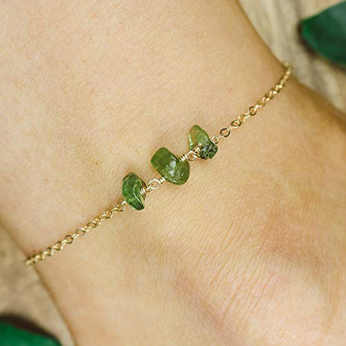 Peridot beaded chain crystal anklet in 14k gold fill - 8