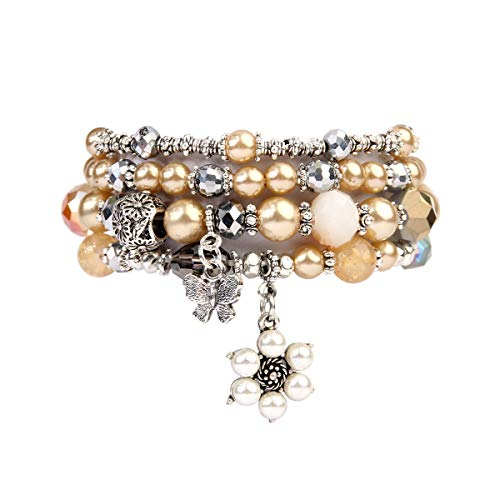 RIAH FASHION Bohemian Multi Strand Faux Pearl Bracelets - Layer Beaded Statement Stretch Lovely Crystal Charm Bangles Flower, Star, Heart (Flower & Butterfly - ()