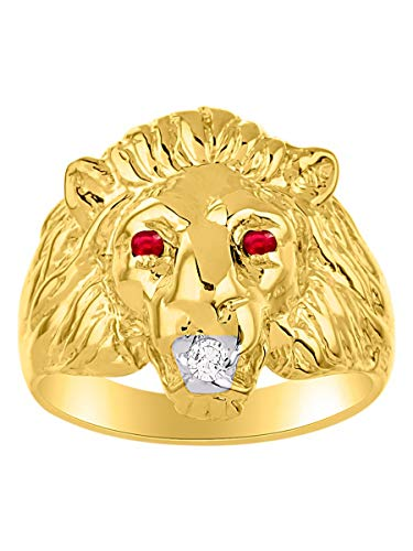 Amazing Conversation Starter Genuine Natural Diamond & Gorgeous Red Ruby Lion Head Ring in 14K Yellow Gold