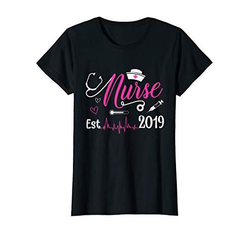 Womens New Nurse Est 2019 shirts Nursing School Graduation Gift
