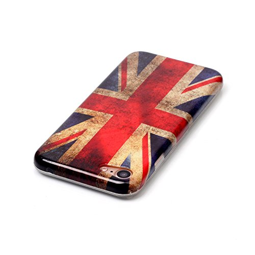 XiaoXiMi Funda iPhone 7 Carcasa de Silicona Caucho Gel para iPhone 7 Soft TPU Silicone Case Cover Funda Protectora Carcasa Blanda Caso Suave Flexible Caja Delgado Ligero Casco Anti Rasguños Anti Choqu Bandera del Reino Unido