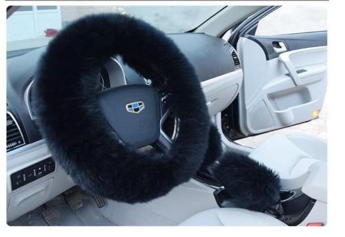 NPLE--Black Best-selling Plush Black Wool Steering Wheel Cover New Steering Wheel Set