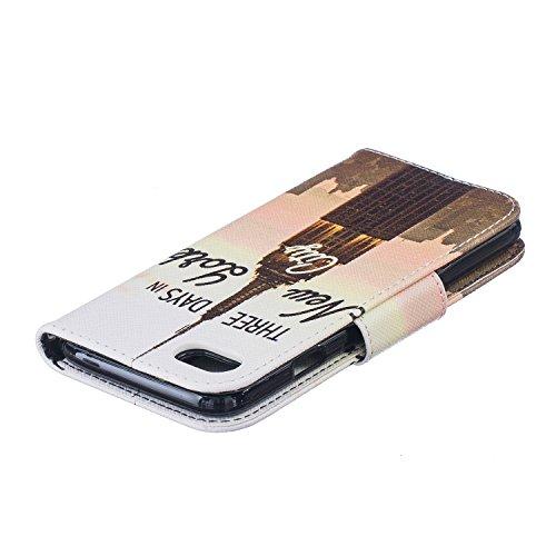 Coque pour iPhone 7G / 7,Housse en cuir pour iPhone 7G / 7,Ecoway Rétro motif coloré étui en cuir PU Cuir Flip Magnétique Portefeuille Etui Housse de Protection Coque Étui Case Cover avec Stand Suppor