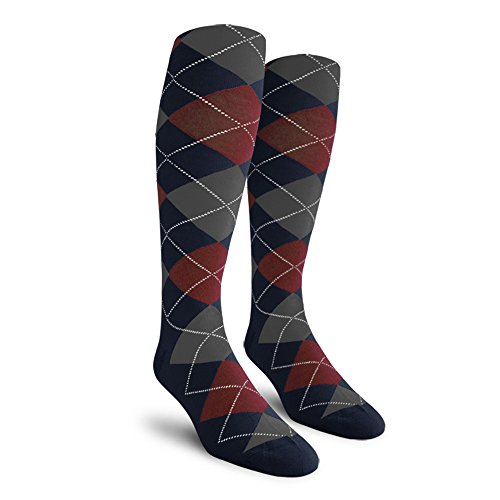 Argyle Golf Socks: Over-the-Calf - Navy/Maroon/Charcoal - Mens (Mens Argyle Socks Knee High)