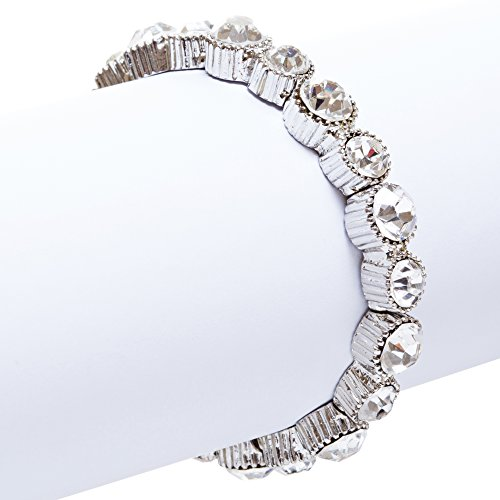 ACCESSORIESFOREVER Women Bridal Wedding Jewelry Crystal Rhinestone Simple Yet Elegant Bracelet B308 SV by Accessoriesforever (Image #1)