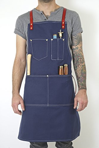 Twig and Bones Canvas and Leather Utility Apron with Pockets - Blue (50s Haircuts)