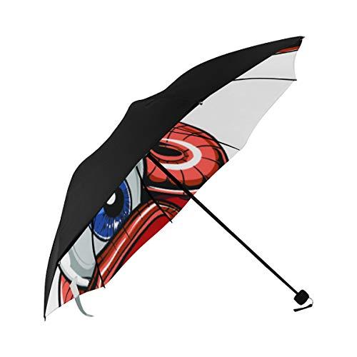 Umbrellas For Women Evil Creative Monsters Lyrical Fire Underside Printing Folding Parasol Umbrella Car Sun Umbrella Wind-proof Umbrella With 95% Uv Protection For Women Men Lady Girl]()