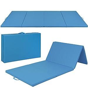 "4'x8'x2"" Gymnastics Gym Folding Exercise Aerobics Mats Blue Stretching Yoga Mat"
