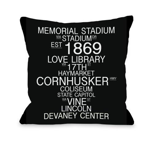 Nebraska Cornhuskers Throw Pillow - One Bella Casa Lincoln, Nebraska Landmarks Throw Pillow by OBC, 18